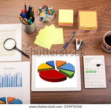 Office table. Desk office financial accounting graphs analysis - stock photo