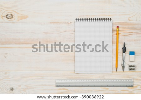 Office table or desk seen from above. Top view product photograph. School or university concept image. Horizontal orientation.