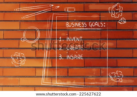 office table with business goals list:invent, create, inspire