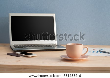 Office table with Coffee cup and Office equipment, View from above coffee cup. - stock photo