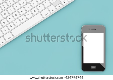 Office Table with Computer Keyboard and Mobile Phone view from above. 3d Rendering - stock photo
