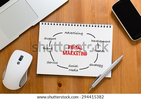 Office table with handbook drafting about digital marketing concept - stock photo
