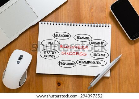 Office table with handbook drafting about marketing success concept - stock photo