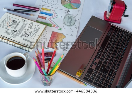 Office table with laptop, analyzing graphic, cup of coffee / business background & conceptual