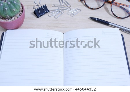 Office table wooden top view - stock photo
