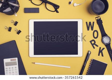 Office tablet PC hero header - stock photo