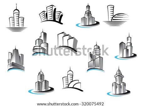 Office, telecommunication, buildings and residential building symbols set. Suitable for architecture, real estate industry or any logo design - stock photo