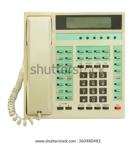 Office telephone with luminous indicators. Isolated on white