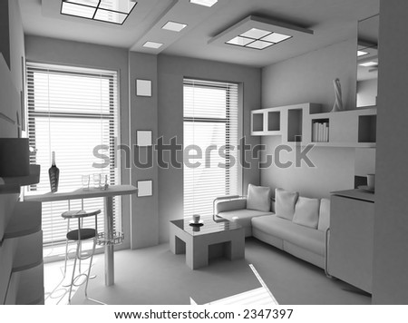 office the rest room blank interior(3d)
