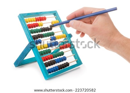 Office tool abacus for accounts. Hand with pencil dials. - stock photo