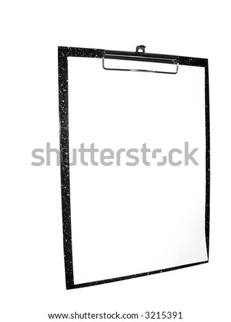 office tool, holder of the paper isolated, insulated, clipboard, please for text, object over white, with absolutely white a background - stock photo
