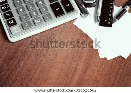 Office tools on table - stock photo