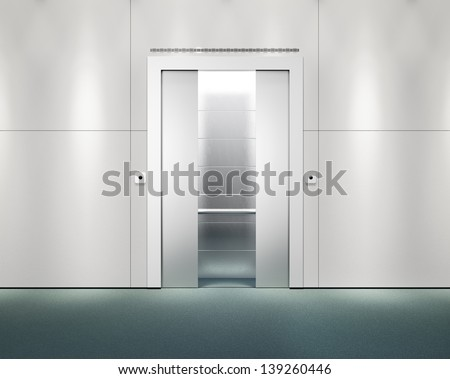 office wall with opened lift doors - stock photo