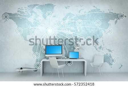 Office modern devices digital world map stock illustration 572352418 office with modern devices and digital world map floating over desk 3d rendering gumiabroncs Images