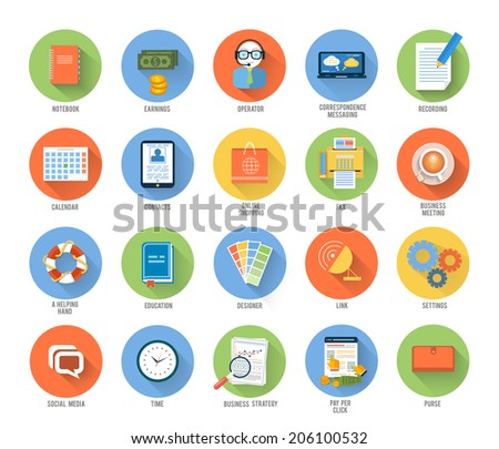 Office work, social media, seo search optimization, pay per click, analysis of documents, purse, time is money, support, designer, marketing concepts items icons in flat design. Raster version - stock photo
