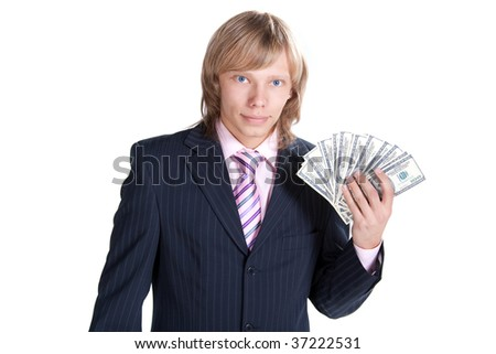 Office worker and dollars. Isolated on white.