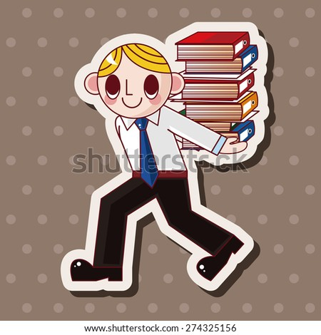 Office worker , cartoon sticker icon
