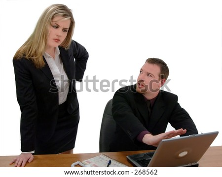 Office worker caught with incriminating content on his computer, isolated over white