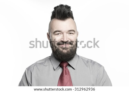 Office worker in a shirt and tie with a mohawk and beard, isolated