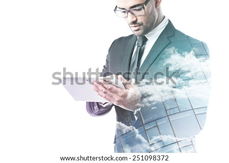 Office worker working on a tablet double exposure isolated on white - stock photo