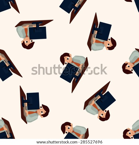 Office workers , cartoon seamless pattern background
