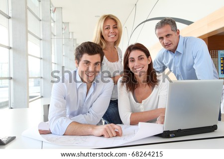 Office workers in business meeting - stock photo