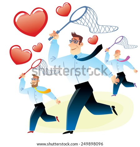office workers men in search of love caught red heart butterfly net for butterflies - stock photo