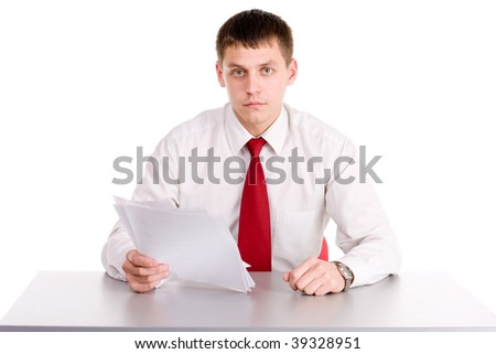 office workman on white background at the table - stock photo