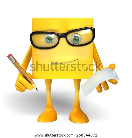 Office Yellow Box Character - stock photo