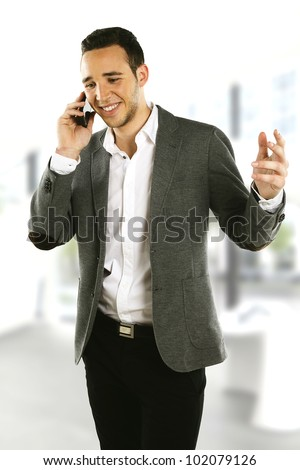 office young Businessman talking on the phone - stock photo