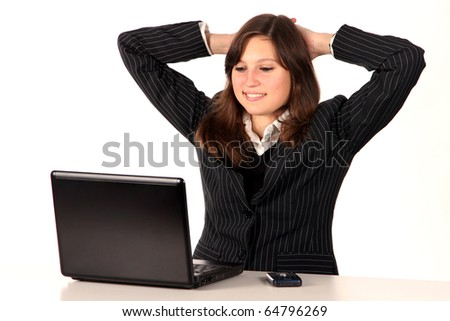 Office young girl with laptop on white background