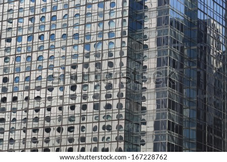 offices and glass buildings in the city of life, low angle view in Hong Kong Central financial zone  - stock photo