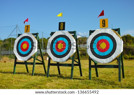 Official 120 centimeters archery targets - stock photo