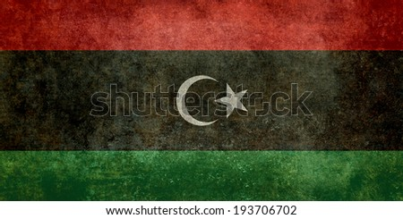 Official flag of the state of Libya, Vintage Distressed version to scale - stock photo