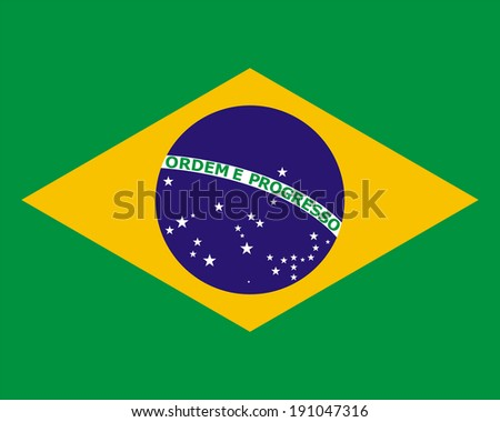 official national flag of Brazil - stock photo