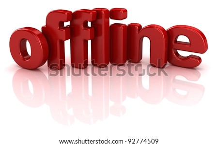 offline text 3d over white background - stock photo