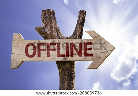 Offline wooden sign on a beautiful day - stock photo