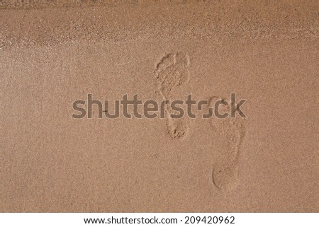 Offset footprints in the sand of Lake Michigan beach shoreline - stock photo