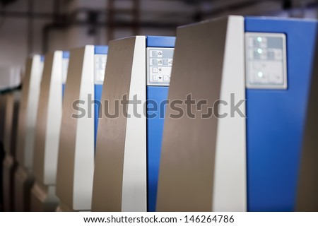 Offset Printing Machine Detail on the Tower, focused to middle - stock photo