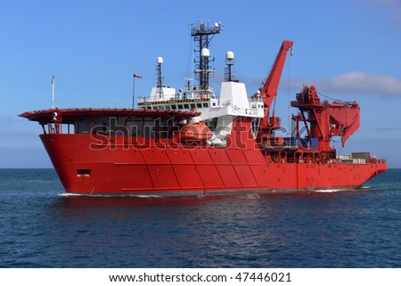 Offshore oil and gas sub-sea diving, construction and support vessel. - stock photo