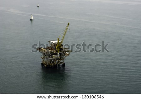 Offshore Oil Drilling Rig Aerial View