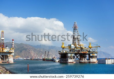 Offshore oil platform - stock photo
