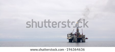 Offshore Oil Platform on the North Sea - stock photo