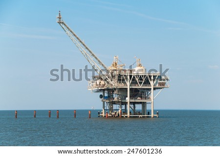 Offshore oil rig - stock photo