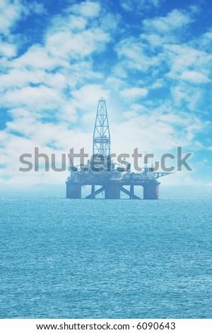 Offshore Oil Rig in the Caspian Sea - more similar photos in my portfolio - stock photo