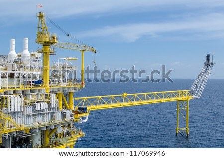 Offshore platform at the south of Thailand - stock photo