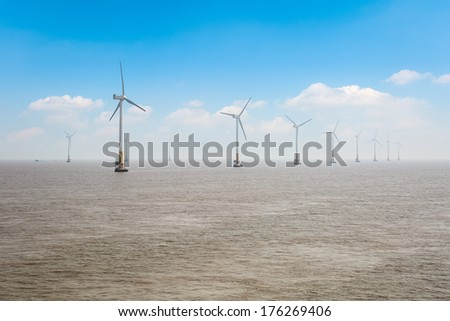 offshore wind farm, clean energy background