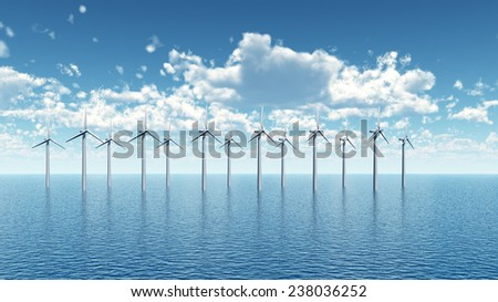 Offshore Wind Farm Computer generated 3D illustration - stock photo