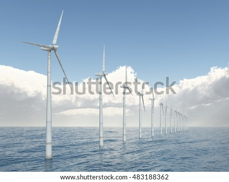 Offshore Wind Farm computer Generated 3d Illustration Stock ...