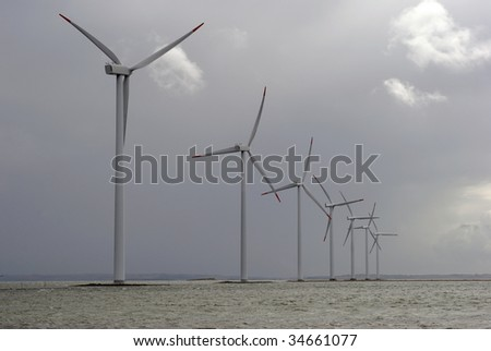 Offshore wind farm from Denmark before  bad weather. Roenland Windpark.